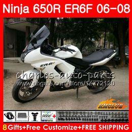 Body For KAWASAKI NINJA 650R ER6 F ER-6F 2006 glossy white 2007 2008 Cowling 29HC.23 Ninja650R 650 R ER6F 06 08 ER 6F 06 07 08 Fairing Kit