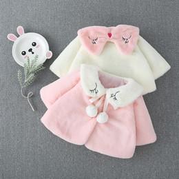Girls 2 Pom Pom Faux Fur Poncho Coats Winter 2019 Kids Boutique Clothing 1-4T Little Girls Outerwear Ponchos