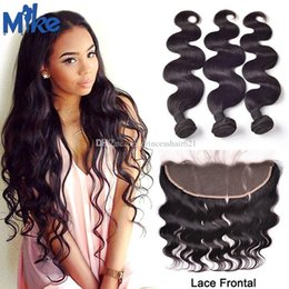 MikeHAIR Lace Frontal With Brazilian Hair Bundles Body Wave Human Hair Weave 4Pcs lot Unprocessed Indian Malaysian Peruvian Hair Wholesale