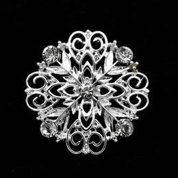 1.5 Inch Sparkly Silver Clear Rhinestone Crystal Diamante Flower Wedding Small Brooch Pins