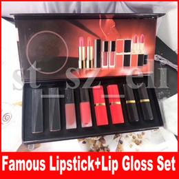 Famous Lip Makeup set Matte Liquid Lipstick Lipgloss Lip Gloss lips Balm 8pcs set Cosmetic Kit