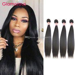 Glamorous Human Hair Extensions 4 Bundles Mixed Length Brazilian Peruvian Indian Malaysian Virgin Hair Straight Hair Weaves for Black Women