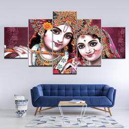 Pictures Modular Poster HD Printing 5 Pieces India God Radha Krishna Canvas Painting Modern Living Room Wall Decor Art Framework