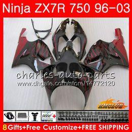 Bodys For KAWASAKI NINJA ZX 7 R ZX 750 ZX750 ZX 7R ZX-750 28HC.18 ZX-7R red flames hot ZX7R 1996 1997 1998 1999 2000 2001 2002 2003 Fairing