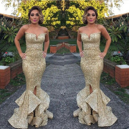 Bling Gold Sequins Mermaid Prom Dresses 2019 Sweetheart Floor Length Split Ruffles Evening Dress Sexy Party Gowns