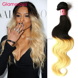 Glamorous Hair Wholesale Ombre Blonde Hair Weaves 12-30inches 4Pcs Popular Brazilian Peruvian Malaysian Indian Ombre Hair Bundles #1B 613