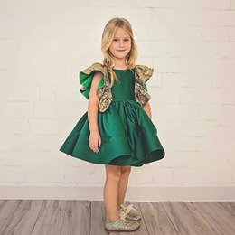 Retail Baby Girls Butterfly Sequin Princess Dress little girls clothing Summer Fly Sleeve Ruffle Party Prom Dresses Kids boutique Cosplay