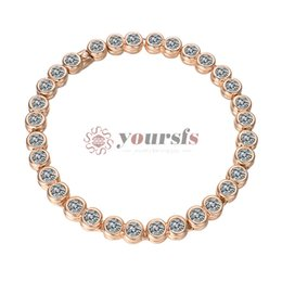 Yoursfs CZ Tennis Bracelet Round Cut Cubic Zirconia Bracelet for Woman 18K Rose Gold Plated for Wedding