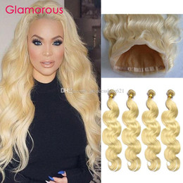 Glamorous Brazilian Blonde Hair Body Wave Straight 5Pcs Lot Color #613 Peruvian Indian Malaysian Hair Weaves 4 Bundles with 360 Lace Frontal