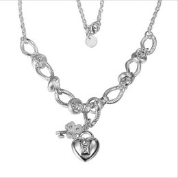 Hanging insets heart lock, flower spoon necklace sterling silver plate necklace STSN190,fashion 925 silver Chains necklace factory sale