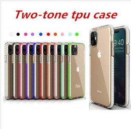 For iPhone 11 Pro Max XR XS X Two-tone Clear TPU Cell Phone Case Dual Color Hybrid Armor Shockproof Cover For iPhone 6 7 8 plus