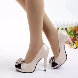 Fast Delivery New Fashion Black Beige Genuine Leather Rhinestone Flowers Pearl Women Beige Platform Pumps High Heel 10cm Ladies Dress Shoes
