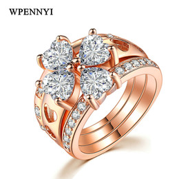 On Sale Unusual 3 in 1 Four Leaf Clover Women Finger Ring Sets Heart-shape Crystal Rose Gold Color Wholesale Drop Ship