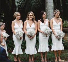 Cheap Ivory Mermaid Bridesmaid Dresses Spaghetti Tea Length Beach Garden Country  Wedding Guest Gowns Maid Of Honor Dress Plus Size 2019 a7e300d5f7e9