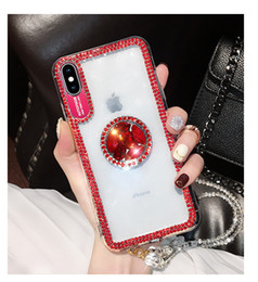 Luxury Bling Glitter With Finger Ring Case For iPhone X 8 7 6 6S Plus XR XS Max Cover Fashion Designer Diamond Soft Phone Cases With Lanyard