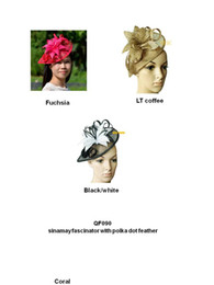 New Arrival Sinamay fascinator bridal wedding hat for kentucky derby race.coral,fuchsia,turquoise,coffee,turquoise,black white,red color.