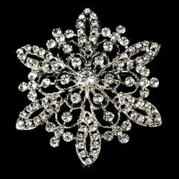2.2 Inch Clear Rhinestone Crystal Diamante Flower Wedding Bouque Brooch