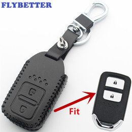 FLYBETTER Genuine Leather 2Button Keyless Entry Smart Key Case Cover For Honda Accord CRV Fit Jazz Civic Car Styling L400