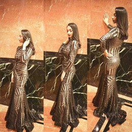Black Sequined High Neck Bling Sexy 2019 Mermaid Prom Dresses Long Sleeves Sweep Train Elegant Arabic Plus Size Pageant Evening Party Gowns
