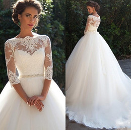 Country Vintage Lace 2019 Wedding Dresses High Neckline Half Long Sleeves Pearls Tulle Princess Ball Gowns Cheap Bridal Dresses Plus Size MN