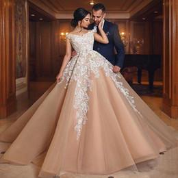 2019 Champagne Off Shoulder Long Evening Dresses Lace Applique A Line Floor Length Court Train Prom Dresses Party Wear robe de soiree BA9294