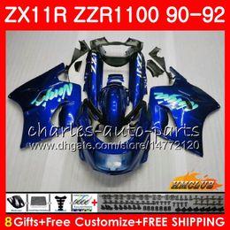 Body For KAWASAKI NINJA ZX 11R ZZR 1100 ZX-11R 1990 1991 1992 30HC.130 ZX11 R ZZR1100 ZZR-1100 ZX-11 R ZX11R 90 91 92 Fairings glossy blue