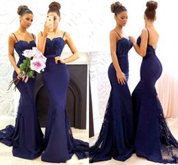 Navy Blue Spaghetti Straps Satin Mermaid Long Bridesmaid Dresses Lace Applique Wedding Guest Maid Of Honor Gowns BA7878