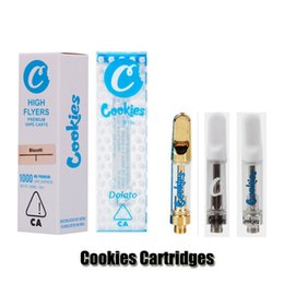 Cookies Carts 0.8ml 1.0ml Gold Ceramic Coil Vape Cartridge TH205 Thick Oil Glass Tank 510 Cartridges For Preheat Battery