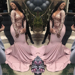 African Plus Size Long Sleeve Mermaid Prom Dresses 2019 Pink Sequined Deep V Neck Sweep Train Illusion Formal Evening Dress Custom Made