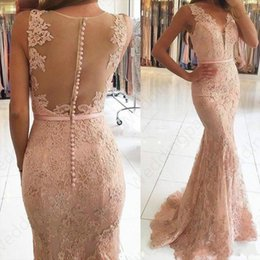 Sexy V-Neck Mermaid Evening Dresses Wear Lace Appliques Beaded Blush Pink Mermaid Long Sheer Back 2019 New Formal Party Dress Prom Gowns