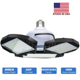 LED Garage Lights 60W 80W E26 E27 6000LM Deformable Ceiling Lighting for Full Area LED Light Bulbs for Workshop barn Warehouse