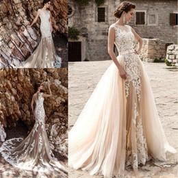 Champagne Vintage Sexy Lace Detachable Skirt Wedding Dresses 2019 Detachable Wedding Dress Train Vestido De Noiva Bridal Gowns Beach BA5359