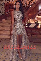 Vestido de fiesta de graduación 2020 Gold Sequins High Low Prom Dresses Appliqued Lace Formal Evening Gowns Cheap Cocktail Party Dress