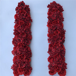 DIY Artificial Flower Runner Silk Red Rose Hydrangea Rlowe row Table Centerpiece Road Lead Arch Flowers