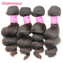 Glamorous Natural Color Virgin Brazilian Hair Loose Wave 4 Bundles Mix Length 8inch to 34inch Peruvian Malaysian Indian Remy Hair Weaves