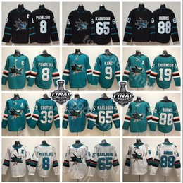 2019 Stanley Cup Final San Jose Sharks Jersey Hockey Joe Pavelski Erik Karlsson Thornton Logan Couture Brent Burns Evander Kane Green Black