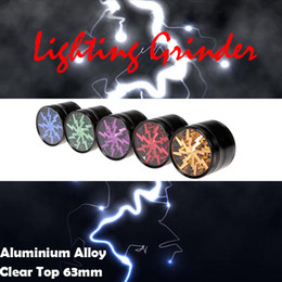 TOP Quality Dry Herb Grinders 63mm Aluminium Alloy Crusher Grinders Clear Top Window Lighting Grinder 4 Pices Grinder VS Sharpstone Grinders