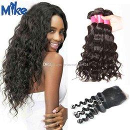 MikeHAIR Peruvian Hair With Closure Natural Wave 4 Bundles With Closure Brazilian Malaysian Indian Cheap Human Hair With Closure 5Pcs Lot