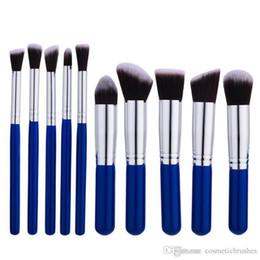 Mybasy Nylon Hair 10pcs Foundation Brush Set Cosmetic Tools Blending Blush Makeup Tool Powder Eyeshadow lady's Toiletry Kit 18cm