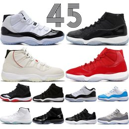 Concord High 45 11s Platinum Tint Cap and Gown Men Basketball Shoes snakerskin Gym Red Bred Space Jams 11 mens sports designer trainers