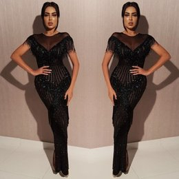 2019 Stunning Black Formal Evening Dresses Sheer Jewel Neck with Tassel Sequined Prom Dresses Floor Length Fashion Party Gowns