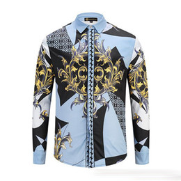 New Arrival Men Shirts Fashion 3d Gold Floral Print Long Sleeve Covered Button Mans Clothing Chemise Homme Casual Shirt
