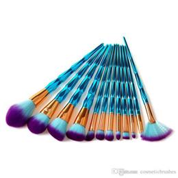 Mybasy 12Pcs Unicorn Makeup brushes Diamond handle Cosmetic Eyebrow Eyeshadow Brush Makeup Brush Sets Kits Tools Diamond Shaped For