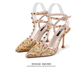 Newest 2019 summer new High-heeled sandals Leather Women Sandals with high heels Ladies Sexy High Heels Fashion rivets shoes size 34-39