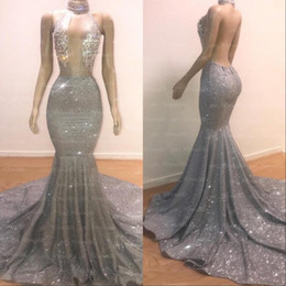 Silver Sexy Mermaid Long Prom Dresses 2019 Halter Beading Crystals Illusion Top Backless Black Girls Evening Party Gowns 2K19