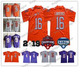 Clemson Tigers 2019 Champions #4 Deshaun Watson 9 Travis Etienne Jr. 16 Lawrence White Orange Purple Stitched NCAA College Football Jerseys