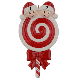 Maxora Lollipop Family of 2 3 4 5 Resin Christmas Tree Ornaments With Babyface As Craft Souvenir For Personalized Gifts or Home Decor