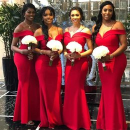 African Red Mermaid Bridesmaid Dresses Newest Off The Shoulder Floor Length Long Wedding Gowns Party Dress arabic Robe de soiree