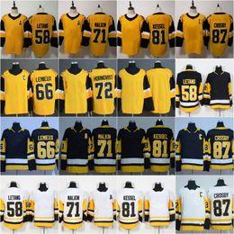 2018 New Cheap 87 Crosby 71 Malkin 59 Guentzel 81 Kessel 58 Letang 30 Murray 66 Lemieux 3 Maatta Blank White Black Stitched Jerseys