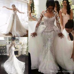 2019 Detachable Train A-Line Lace Wedding Dresses New Arrival Long Sleeve Muslim Vestido De Noiva Luxury Sexy Wedding Dress